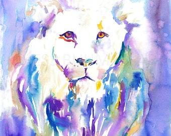 Lion Watercolor Painting Print, Lion Painting, Print of Lion, Abstract Lion Art, Animal Watercolor, Nursery Painting, Nursery Art, Lion Art