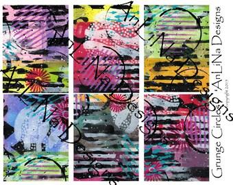 Grunge Circles Printable Art Journal Cards, 3x4, Digital Download