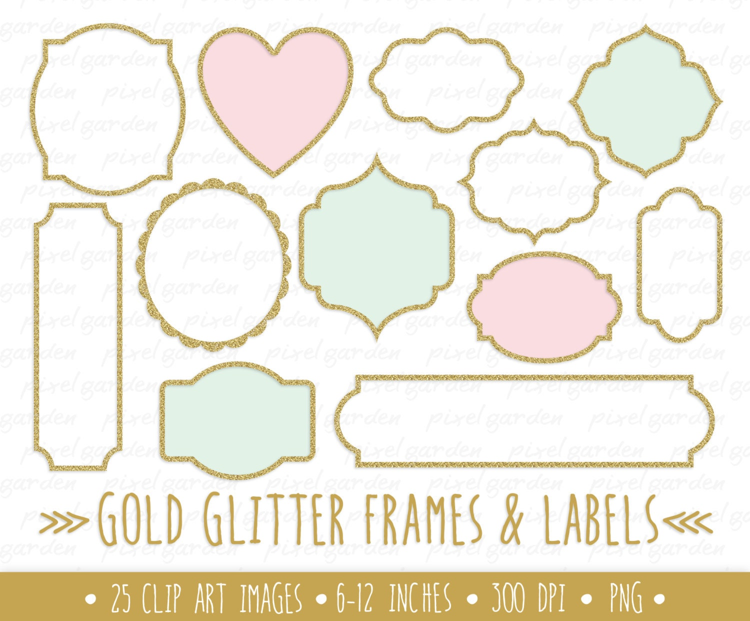 Gold Glitter Frames Clipart. Gold Glitter Labels Clip Art. Metallic ...