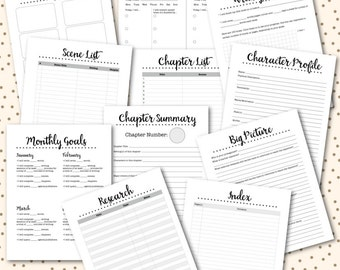 Novel Planner PRINTABLE Inserts NaNoWriMo Worksheets