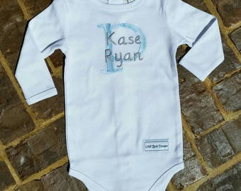 Baby Boy Onesie with Embroidered Name (choose your thread color), can be made in short or long sleeves