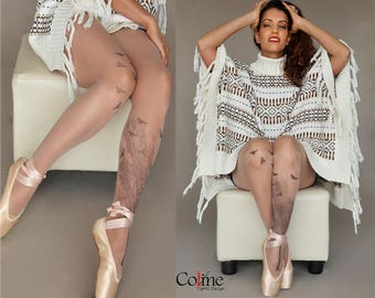 Tattoo Tights with Tree and Birds, Semi-Sheer Tights, S-XXL Sizes Available, Printed Tights, Pantyhose