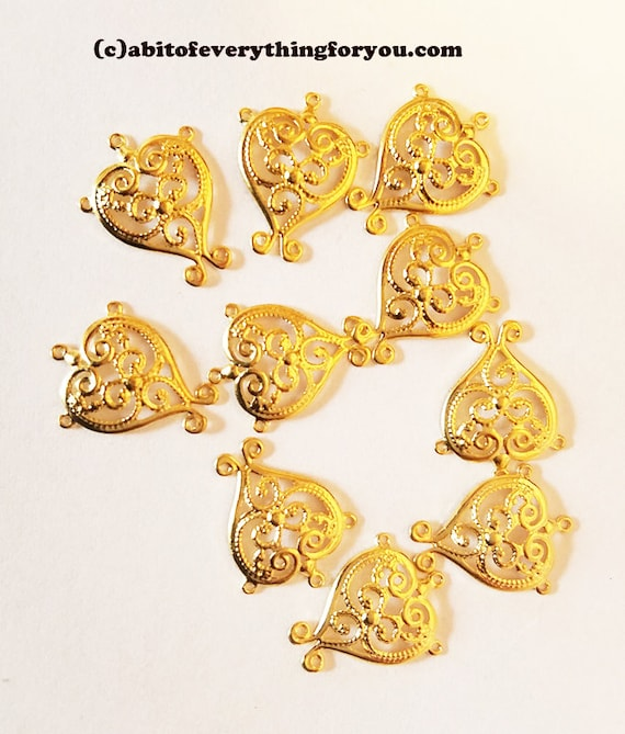 8 double heart charms vintage brass heart charms metal brass charms brass hearts