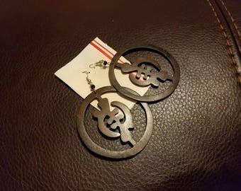 Wooden Gye Nyame earrings