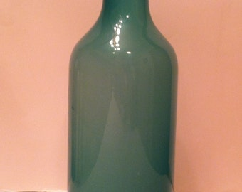Hand Blown Sea Green Glass Bottle