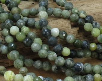 Green Serpentine Beads, Natural Multi-Colored 6mm Faceted Round Beads, 7 inch Strand, 6mm Green Beads, Beading Supplies, Item 798pm