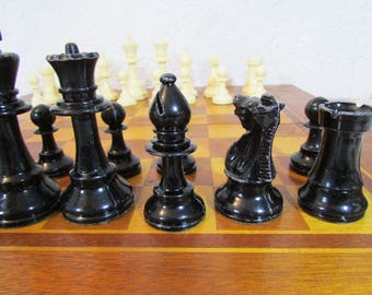 Vintage chess/ Vintage chess set in wooden box/ Travel Chess/  Game Board Set/  Chess game/  Old game /  Chess board /  Wooden game