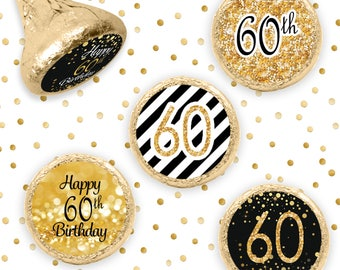 60th Birthday Party Decorations - Black and Gold Birthday Party Favors - Happy 60th Birthday Stickers for Hershey Kisses - 324ct Stickers
