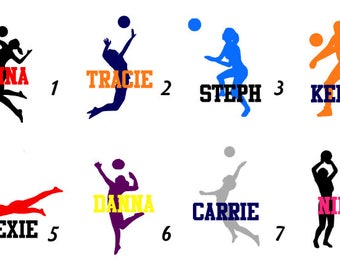 """Multi-Color Volleyball Decal Stances or Iron-On """"Personalized"""" - Name/Team/Number"""