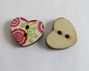 Red and yellow floral wooden heart button