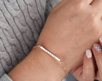 Custom Name Bracelet, Personalized Bracelet, best friend gift, rose gold bracelet, bar bracelet, engraved bracelet, Mother daughter Jewelry