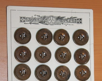 "Vegetable Ivory Buttons - Chocolate Brown with Stencil Pattern - Tagua Nut - 24  x 3/4"" Buttons - Original Store Card"