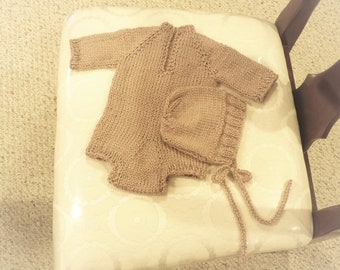 Newborn Romper set,  Baby Romper, Knit Hat,  Newborn Photo Prop, Button Bottom Romper, Knit Romper