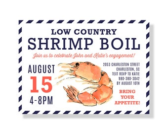 Shrimp Boil Invitation, Printable Invite, Low Country Boil Invite, Birthday Party Invite, Engagement Party, Louisiana, Seafood Boil