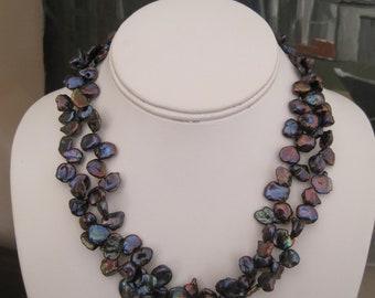 "Vintage schwarze Süßwasser Perlenkette Doppelstrang Amethyst Verschluss 18"" Handwerker gemacht"