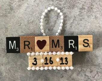 Mr & Mrs Scrabble tile ornament | wedding gift tag | Christmas tree ornament
