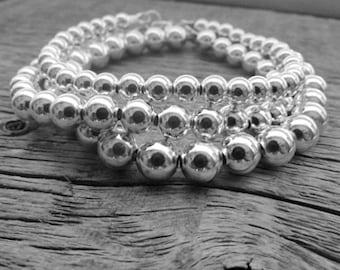 Sterling Silver Bead Bracelet, 5mm Bracelet, Bride Bracelet, 925 Silver Bracelet, Sterling Bracelet, Stack Bracelet, Ball Bead Bracelet