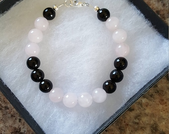8 mm Rose Quartz & Onyx Bracelet w/925 Sterling