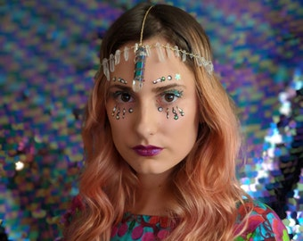 3rd Chakra Dark Rainbow Head Chain, Quart Point, Crown, Tiara, Festival Jewelry, Burner Girl, Hippie, Boho Jewelry, Mermaid, Burlesque