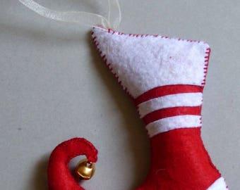 Decoration ornaments Christmas boot Elf felt Bell Mini cushion