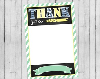 Boy Baby Shower Invitation | Flat Thank You Card | Digital File