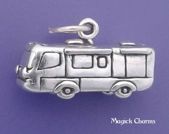 RV Charm .925 Sterling Silver Motorhome, Motor Home, Caravan, Camper, Travel Trailer Pendant - lp3682