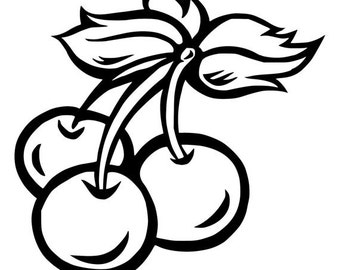 DIY Cherries Vinyl Decal, Fruit Cherries, Laptop Vinyl Decal, Tablet Vinyl Decal, Cell Phone Decal, Car Window Decal. Drinkware Decal