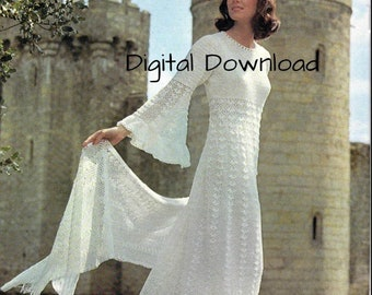 Crochet Wedding Pattern, Vintage Romantic Hippie Boho, Gossamer Bell Sleeve Bridal Evening Gown, Shawl Stole, PDF Instant, Digital Download