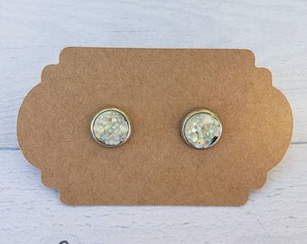 8mm Chiffon Druzy Earring / Surgical Steel Earrings / Faux Druzy Earrings / Stud Earrings / Rose Gold Earrings / Childrens Earrings