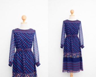 Vintage 70s Dress | Japanese Vintage Dress | Sheer Chiffon Dress | Novelty Print Navy Blue | Dinner Dress | Party Dress | with Belt | XS