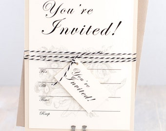 Fill in invitation cards baby shower invitation bridal rustic elegant fill in bridal shower invitations baby shower invitation baker twine and hanging filmwisefo Choice Image