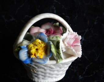Figurine Miniature Porcelain Flower basket-colorful vintage