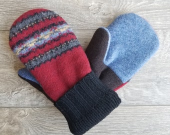Best Wool Sweater Mittens // Womens Sweater Mittens // Fleece Lined mittens // Red Black Blue