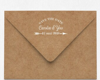 Arrow Save The Date rubber stamp - Custom Wedding Invitations Stamp - custom wedding stamp - custom save the date stamp - custom logo stamp