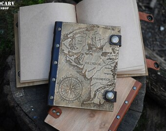 Travel not all those who wander are lost journal diary wooden map explorer travel notebook sketchbook adventure journal lord of rings gift