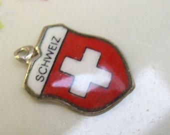 """Sale...Vintage 800 Silver """"SCHWEIZ"""" Germany Shield Crest Charm...Enamel...Souvenir Tourist Bracelet Charm...Reu Charm"""