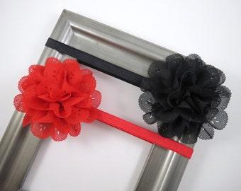 Red and Black Flower Headband Set - Flower Headbands - Elastic Girl Headbands - Set of Headbands - Baby Toddler Teenager Adult Headbands
