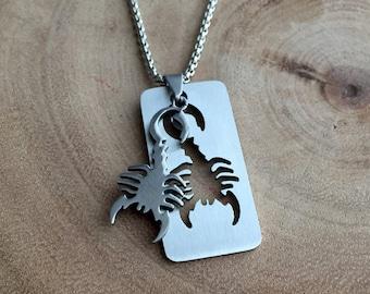 Scorpion Necklace, Zodiac necklace, gift for him, Men's jewelry, Scorpion jewelry, Astrology jewelry, Star necklace