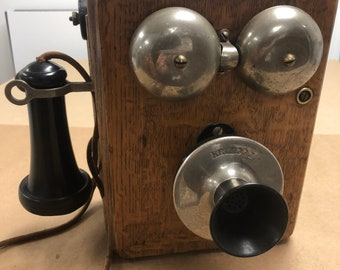 Antique Kellog 1901-08 oak wall phone 12wx10.5hx8d Shipping is not free