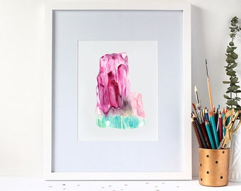 Watercolour Tourmaline Gemstone 8x10 Print