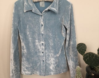 Babe Blue Crushed Velvet Top