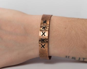 Cross-stitch Copper Bangle