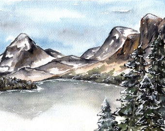 Lonely Trees Watercolor Mountains Painting Print - Landscape painting - trees mountains watercolor painting - art snow mountain range