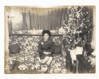 "Vintage Snapshot ""A Polaroid Christmas"" 1960's Christmas Tree Tinsel Christmas Decor Small Polaroid Black & White Found Vernacular Photo"