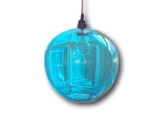 AQUA Gumball Hanging Art Glass Pendant Diffuser Globe Light by Rebecca Zhukov