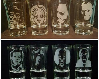 Pick your own 4 Icon Horror Shot glasses Freddy Krueger, Jason, Chucky, Michael Myers, Leatherface, Ghostface, Pennywise, and Billy
