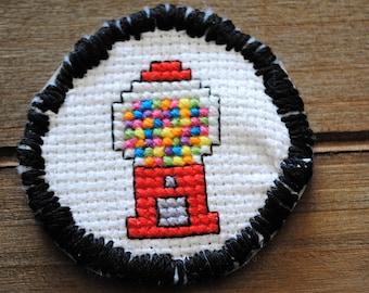 Gumball Machine Cross Stitch / Cross Stitch Patch  / Wearable Art / Gumball Machine / Handmade / Cross Stitch / Iron on Patch