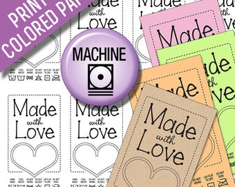 Made With Love Black Line Art Laundry Care Tags for Machine Washing