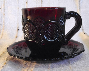 Avon Cape Cod Cup and Saucer, Ruby Red, PM571a, ON SALE NOW!