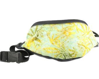 Fanny pack Cannabis Hemp Leaves print fabric - Cute  - Hip Waist Bag - 2 Zippers